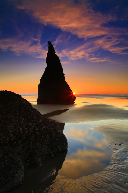 Sunset and The Magicians Hat From Face Rock Beach in Along the O