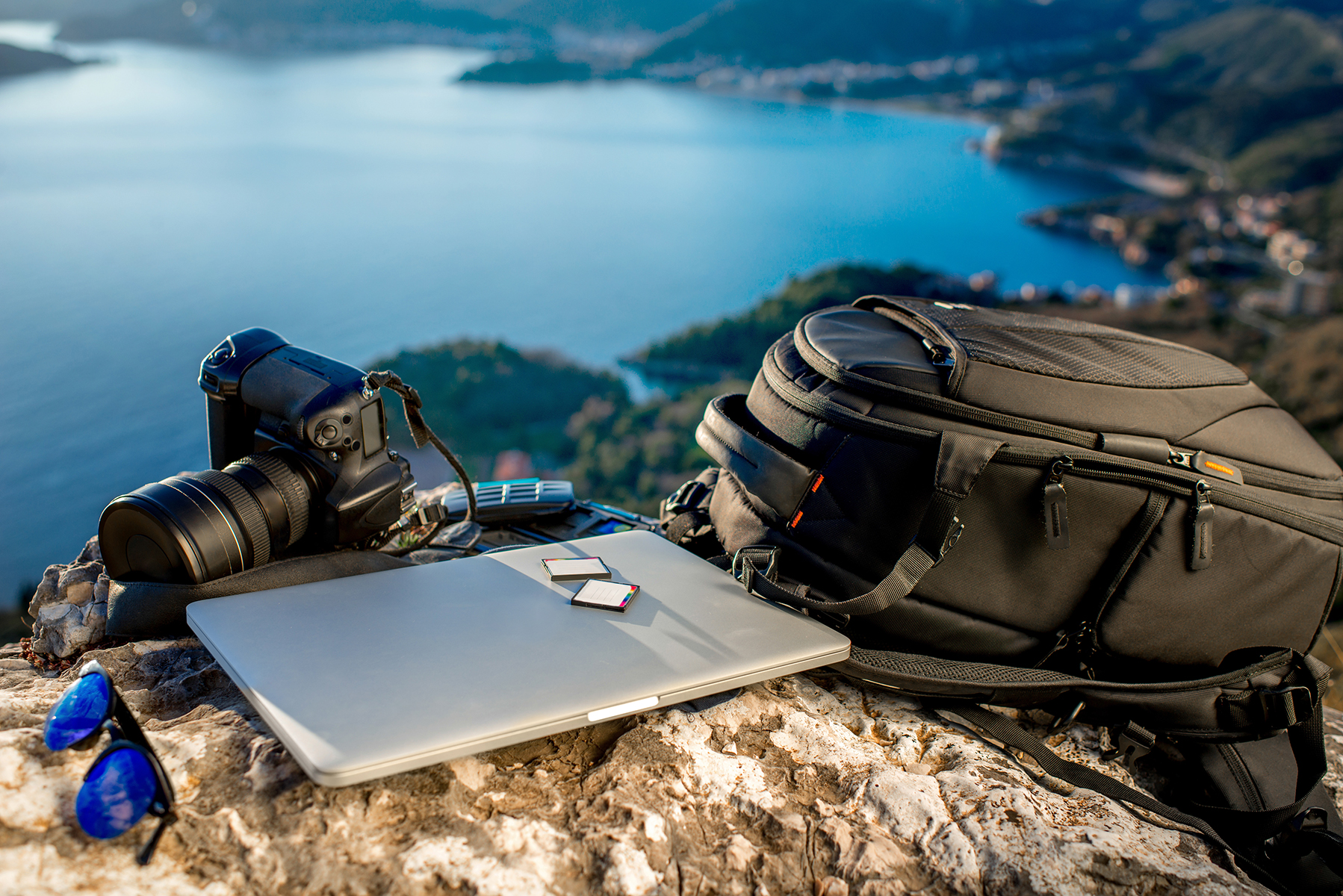 Photographer equipment on a scenic overlook